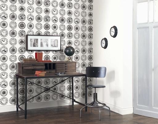 Papel Pintado Relojes, de la colección Black and White